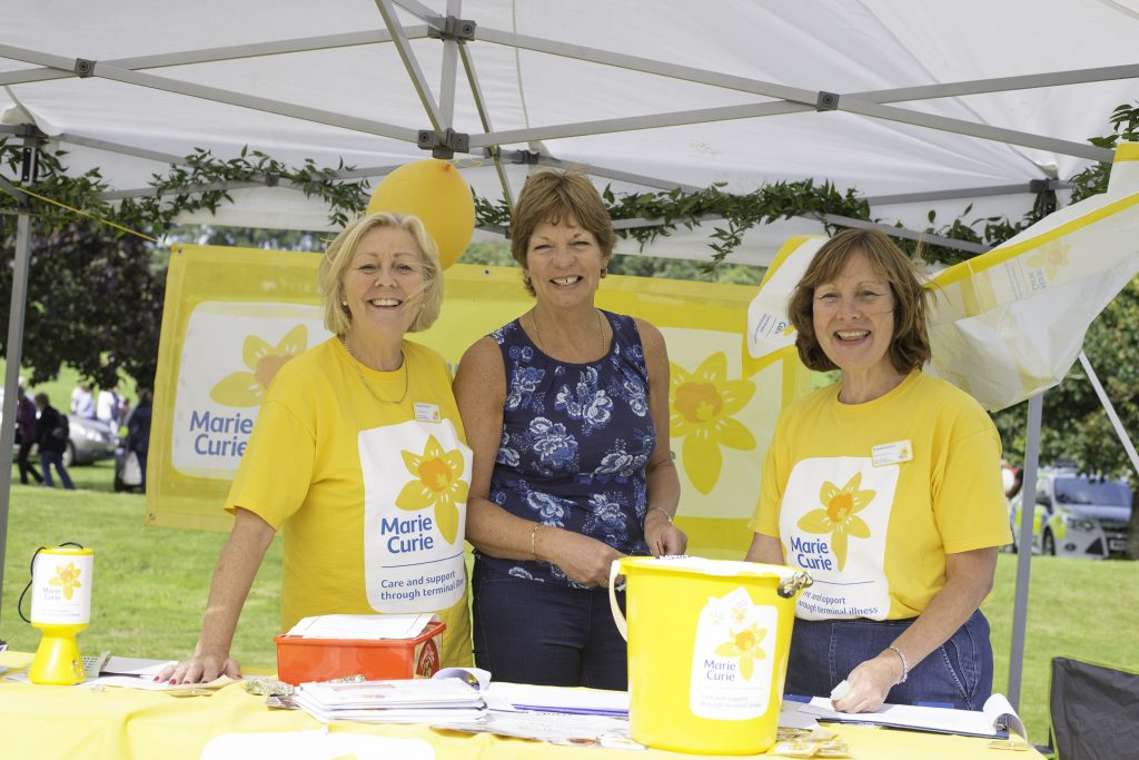 St Austell fundraising team Christine Bennetto, Helen Mugford and Gill Grigg at Trewithen. 11 September 2016.