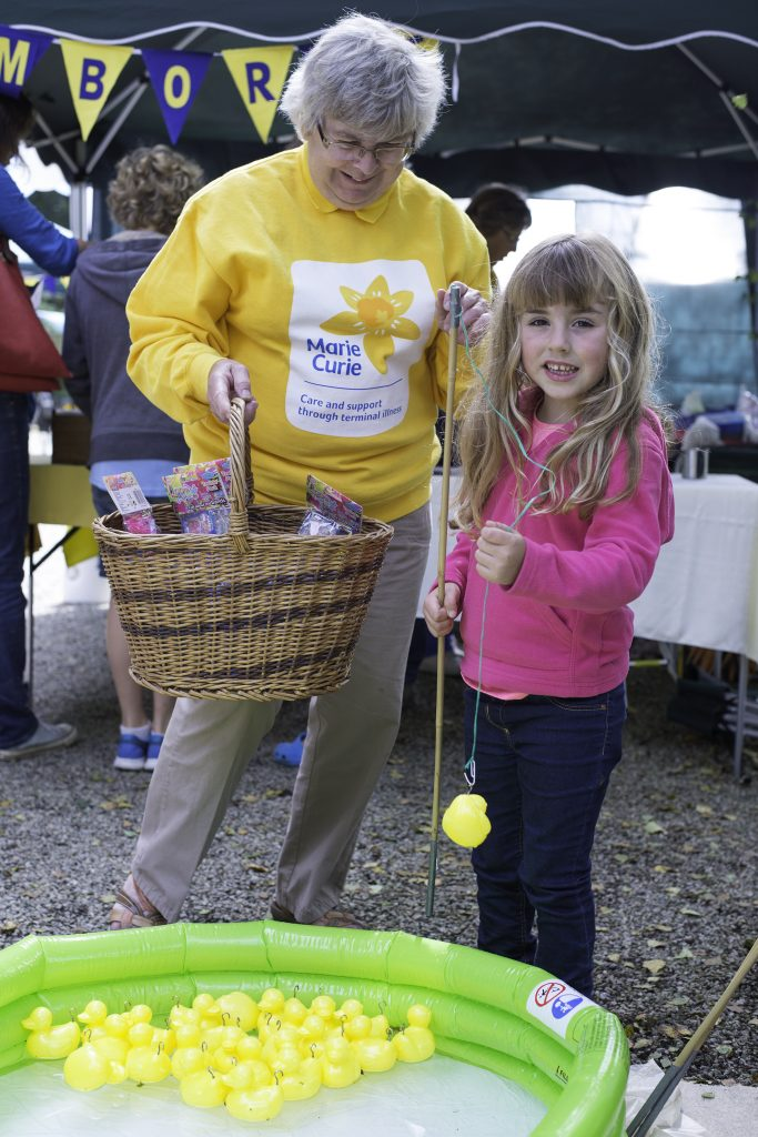 Camborne volunteer for Marie Curie Diane Hore with Freya Prisk at Trewithen. 11 September, 2016.