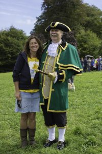 Jim Henderson and Marie Curie volunteer Annabel Sylvester at Trewithen. 11 September 2016.