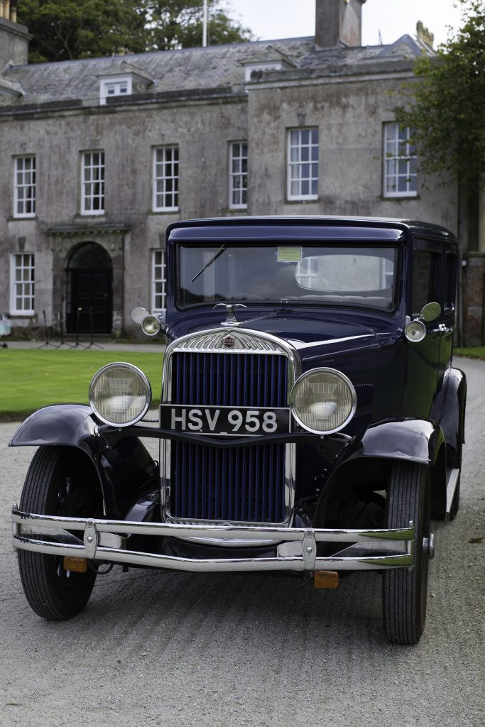 Classic car in front of Trewithen house. 11 September 2016.
